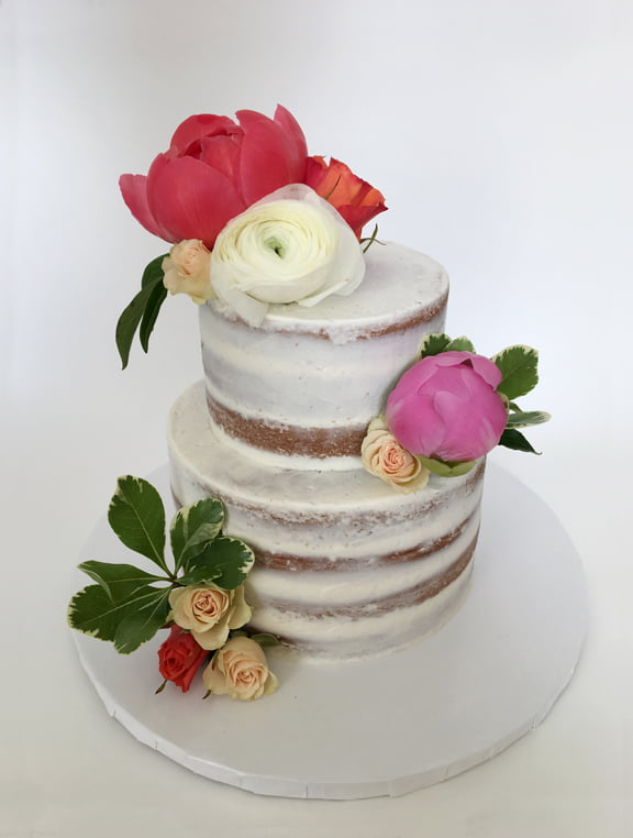 Semi-Naked Wedding Cake with Peonies